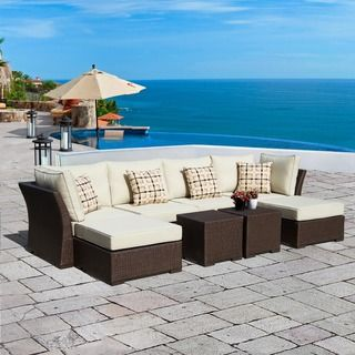 Corvus Oreanne Outdoor 8 Piece Brown Wicker Sectional Sofa Set By Corvus