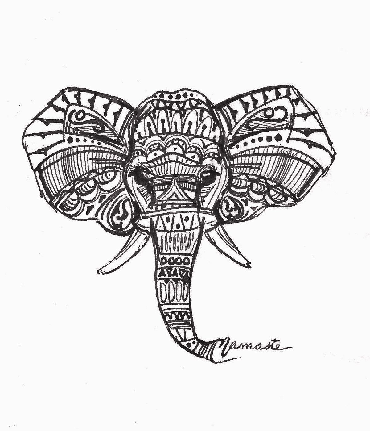 Black And White Indian Elephant Drawing | www.pixshark.com