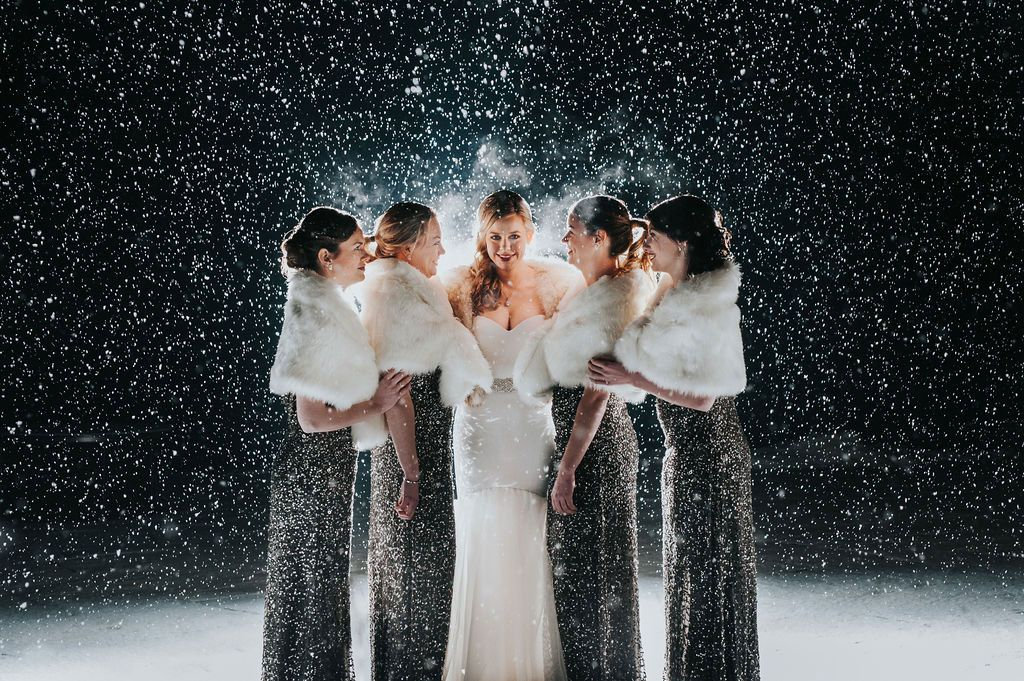 Luxe bridesmaids New Years Eve Wedding in Vermont in