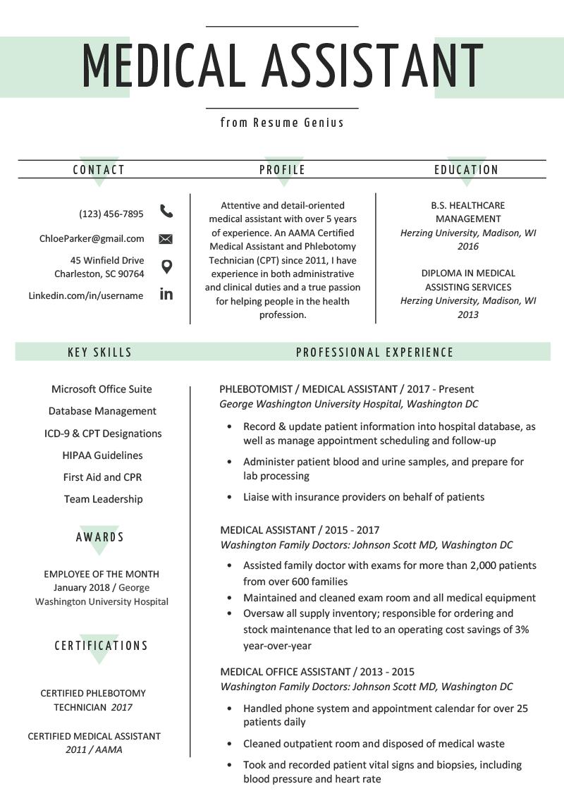 Medical Assistant Resume Sample & Writing Guide Medical