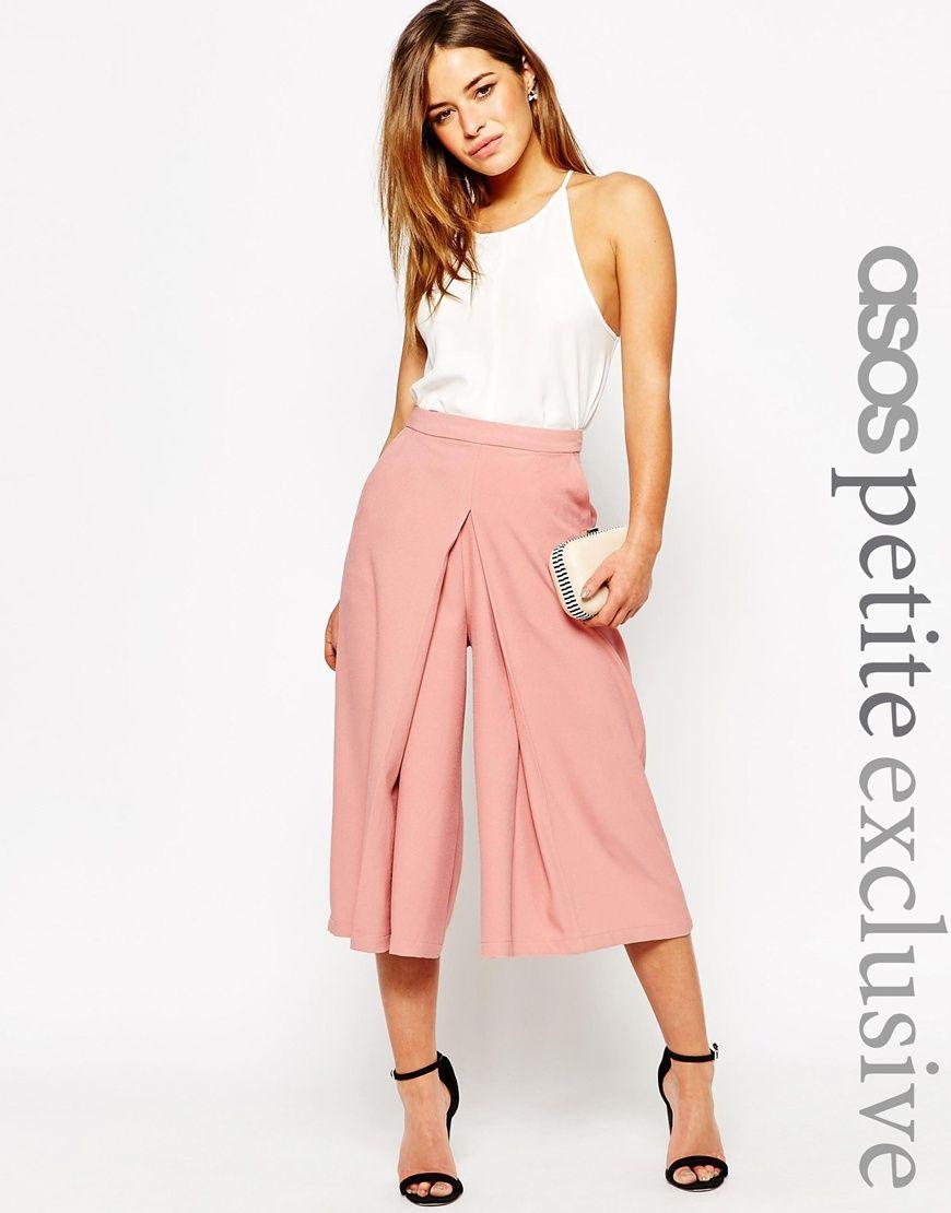 Falda pantalón de pernera ancha con detalle delantero plisado de ...