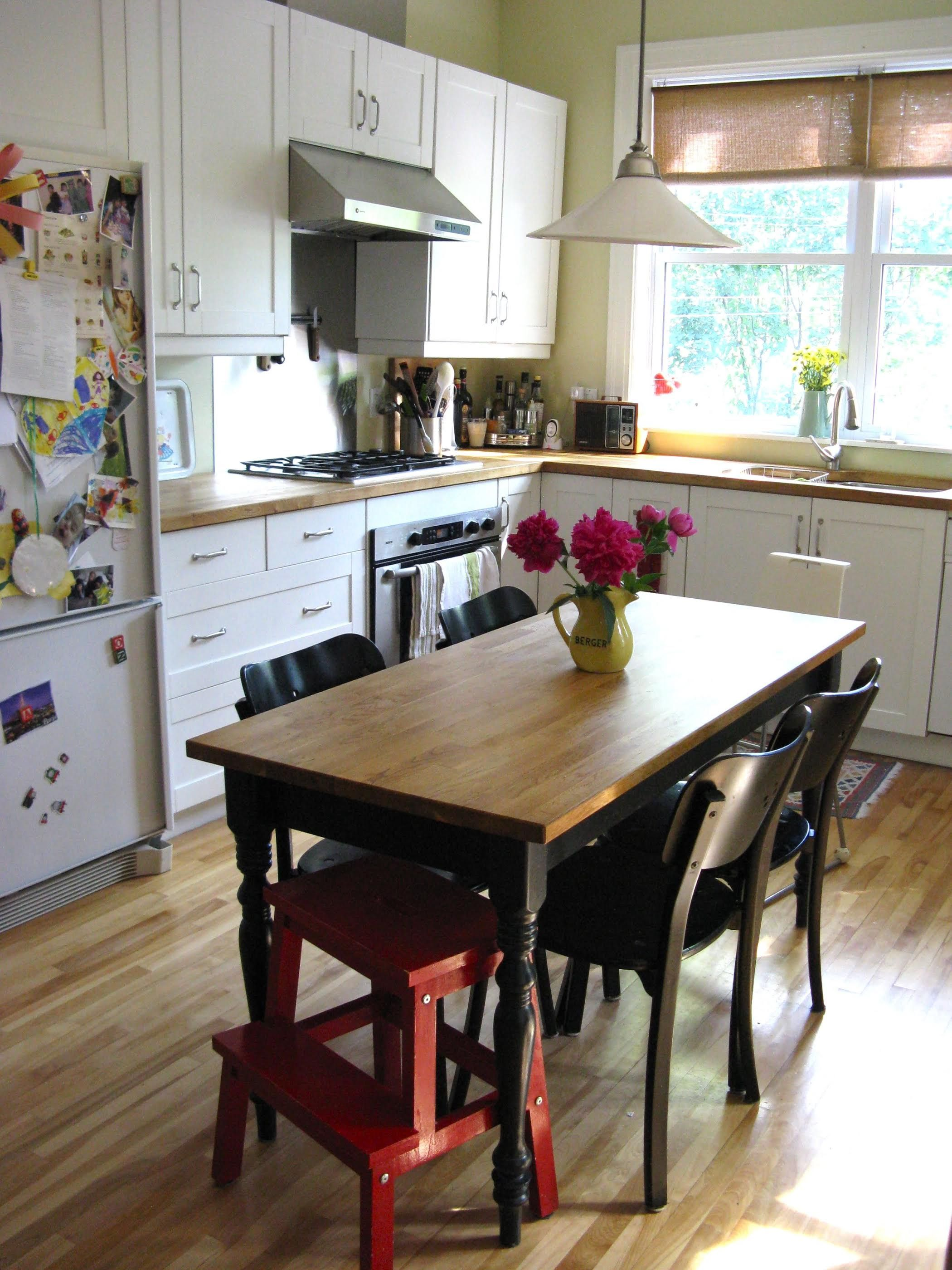 a real kitchen table in the middle empty cabinet depth fridge lots of light eat in on kitchen interior table id=94817