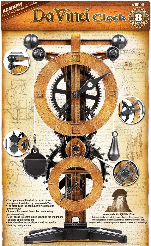 ACADEMY Da Vinci Machines Series Clock #18150A   Wooden Gear