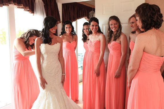 Cheap Wedding Dresses With Color: Cheap A Line Sweetheart Sleeveless Zipper Coral Long