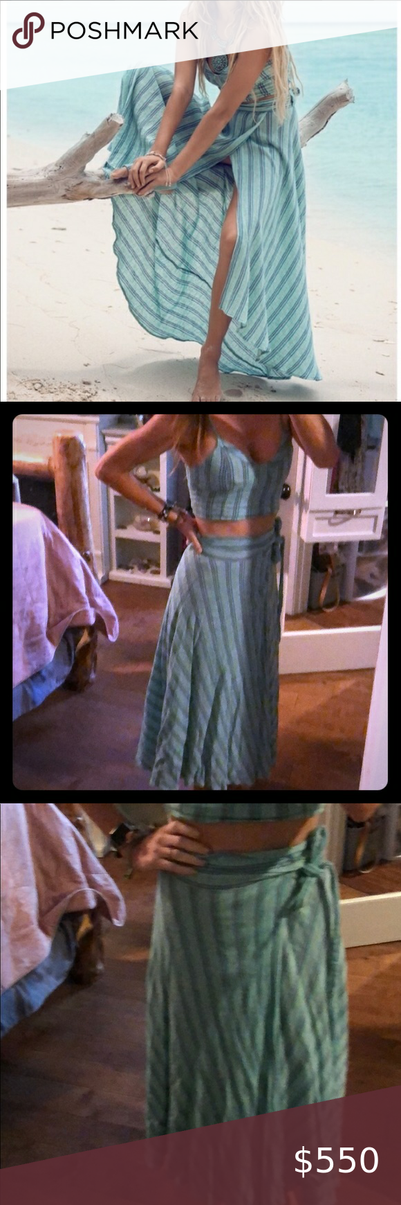 Spell and the gypsy set top skirt great condition Beautiful wrap skirt blue with pin-striping matchi