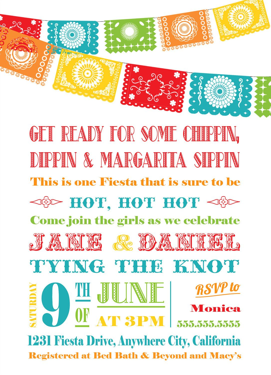 Fiesta Bridal Shower Invitation - Papel Picado Bunting. $16.00 ...
