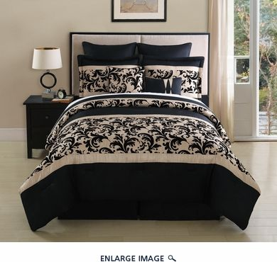 8 Piece King Montessie Black And Taupe Comforter Set Taupe