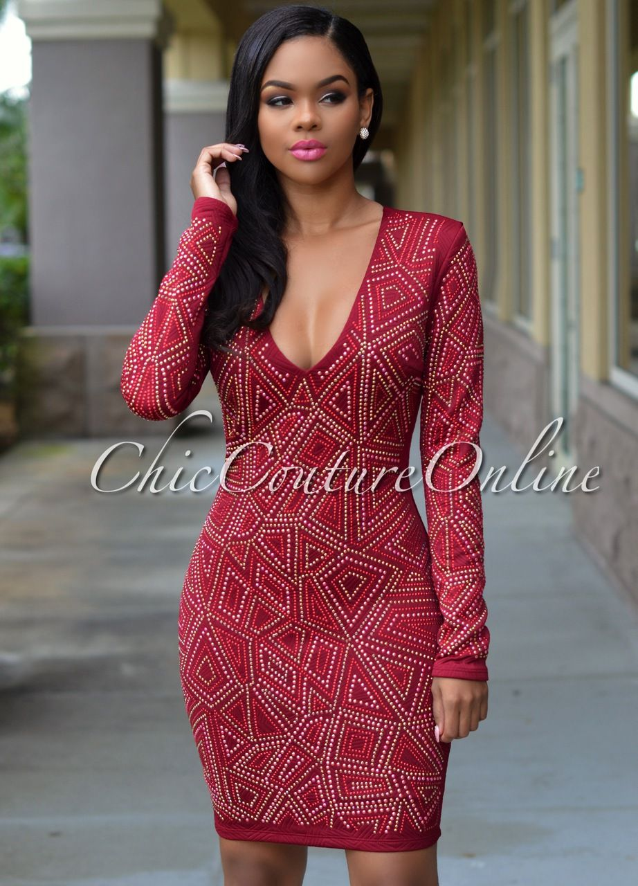 Chic couture online jayce wine jeweled long sleeves dress