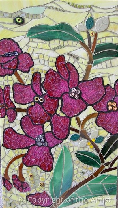 'Fantasy Flowers' by Crisitna Ciloci  Maplestone Gallery  Contemporary Mosaic Art_Glass, tile, tempered glass, millefiori, and polymer