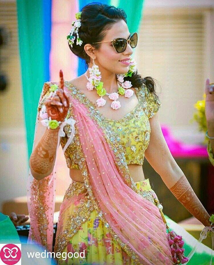 Real bride Aanchal. Silk flower set by Bridal Flower Jewellery www ...