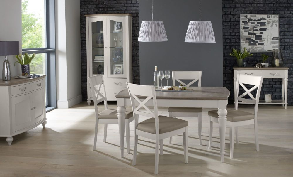 Bentley Designs Montreux Grey Washed Oak And Soft Grey Dining Set - Washed oak dining table and chairs
