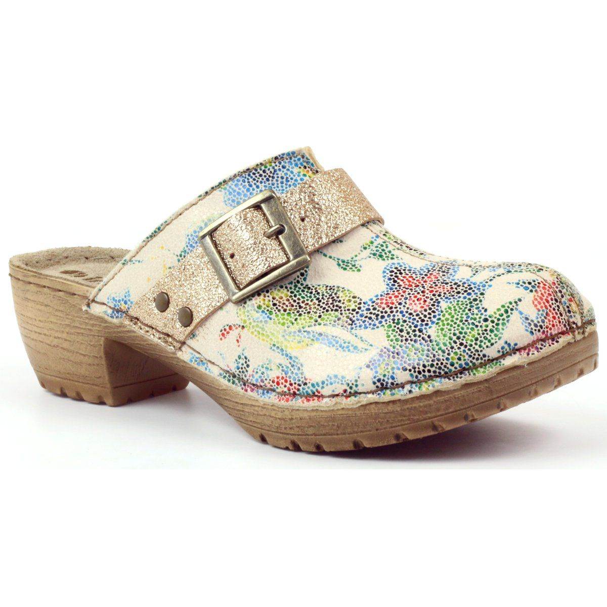 Klapki Drewniaki W Kwiaty Inblu Bl02 Brazowe Zolte Wielokolorowe Clogs Shoes Fashion