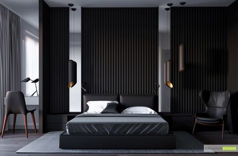 Room · 25 beautiful examples of bedroom accent walls that use slats to look awesome