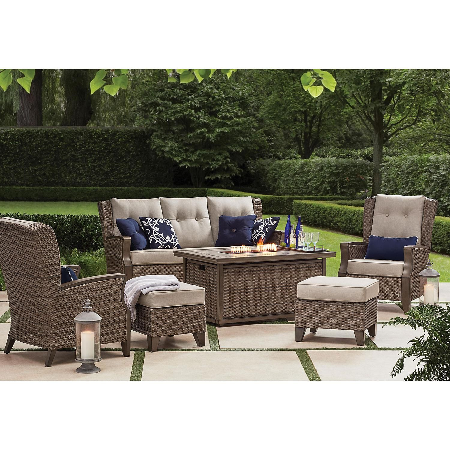 Member S Mark Agio Newcastle 6 Piece Patio Deep Seating Set With Fire Pit And Sunbrella Fabric Cast Ash Sam S Club Deep Seating Patio Furniture Deep Seating Outdoor Seating Set