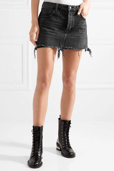 New Cheap Online Zip-embellished Frayed Denim Mini Skirt - Dark gray Alexander Wang Clearance Outlet Purchase PKKPri1