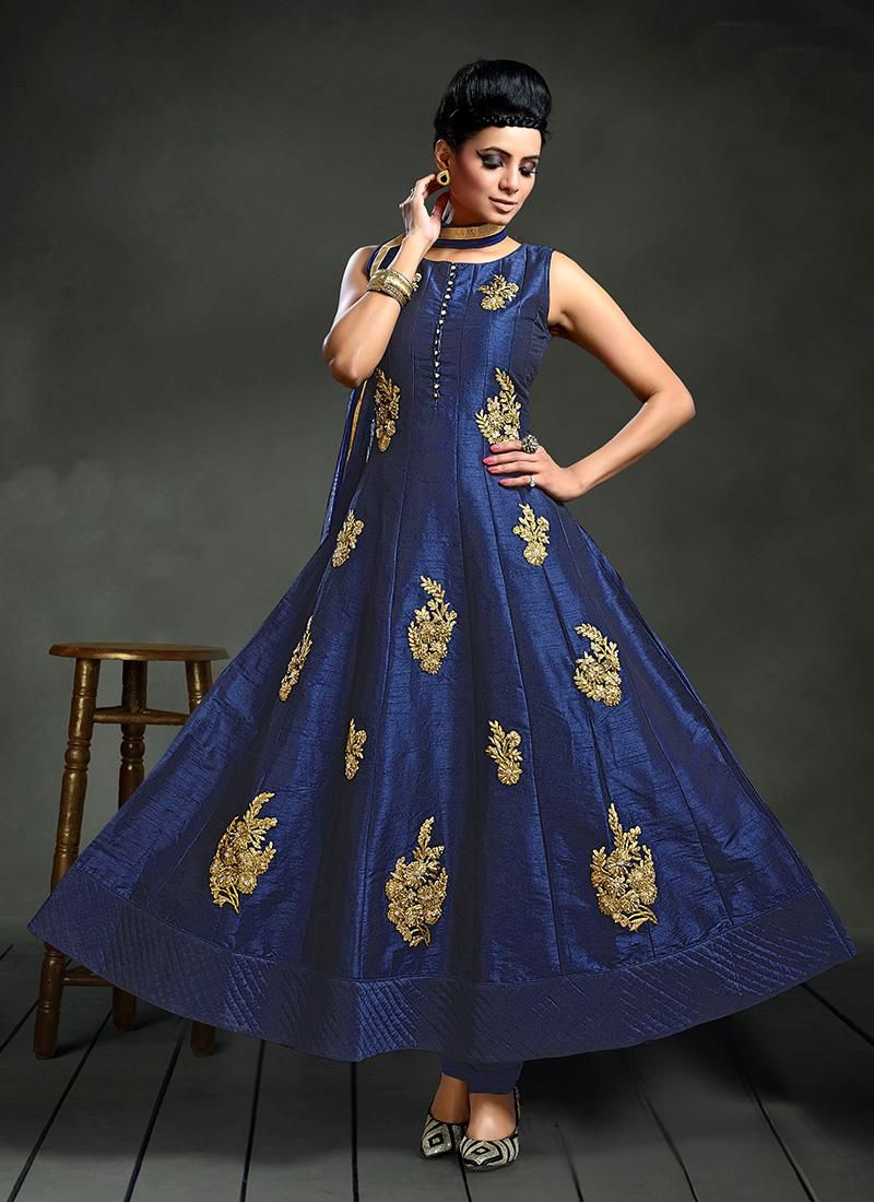 Royal silk anarkali salwar kameez the luxurious blue pinterest