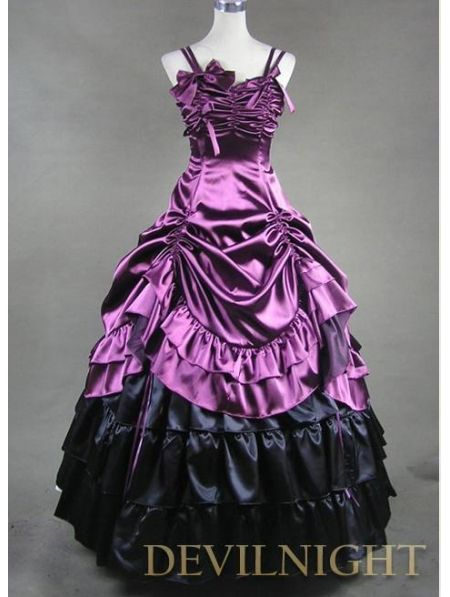#Purple and Black Pick-up Skirt #Gothic #Masquerade #Victorian #Dress
