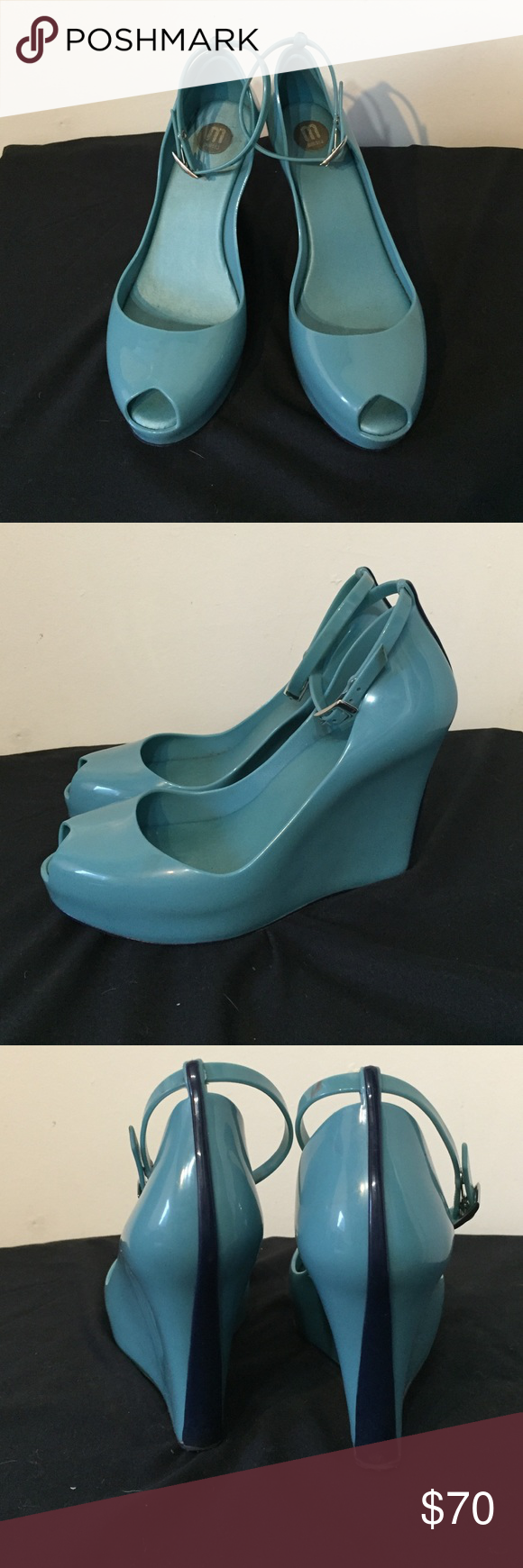 Melissa blue strap peep toe wedges 8 Wedges are in good condition. They have some scuffs. Melissa Shoes Wedges