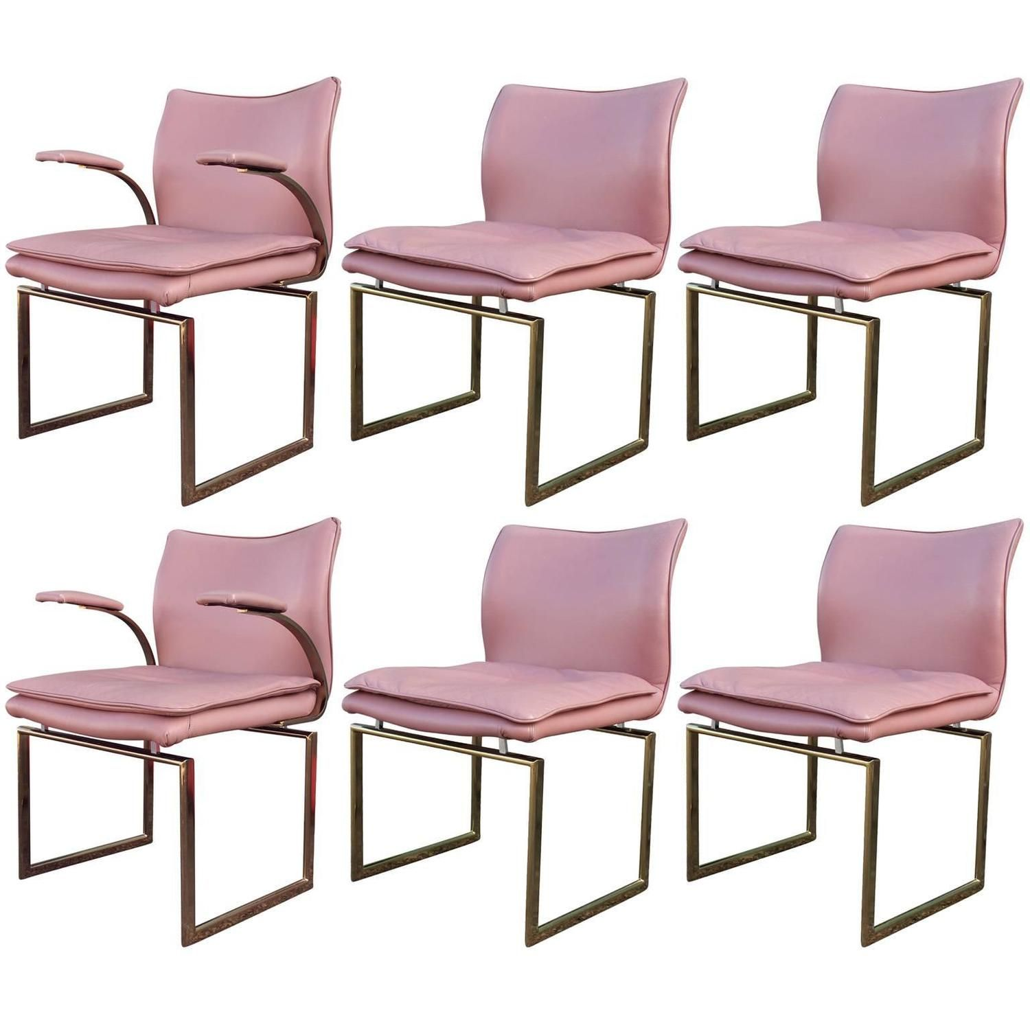 Amazing Superb Fabulous Set Of Six Brass And Pink Leather Dining Chairs |  1stdibs.com Home Great Pictures
