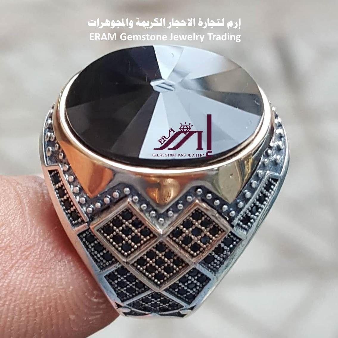 خاتم من نوادر العقيق اليمني الاسود فاخرة مميز طبيعي100 Agate Class Ring Rings Jewelry