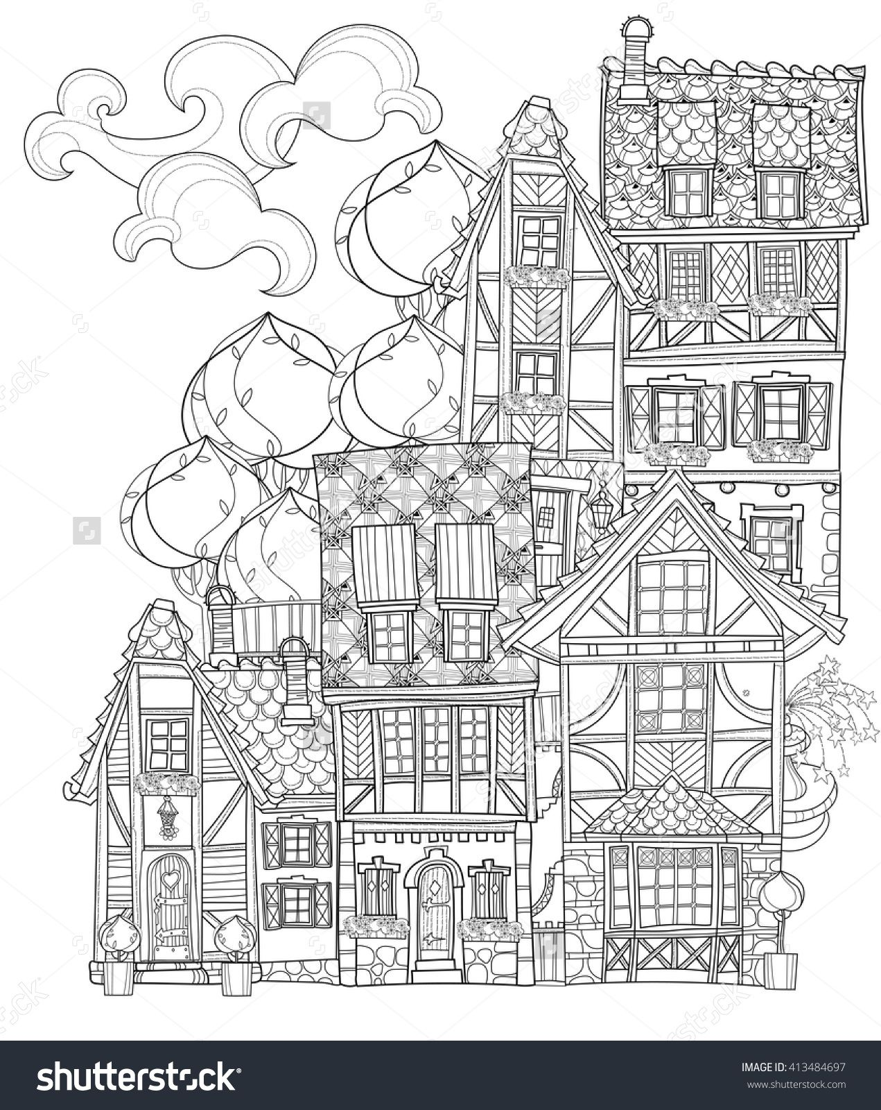 Cute fairy tale town coloring adult page