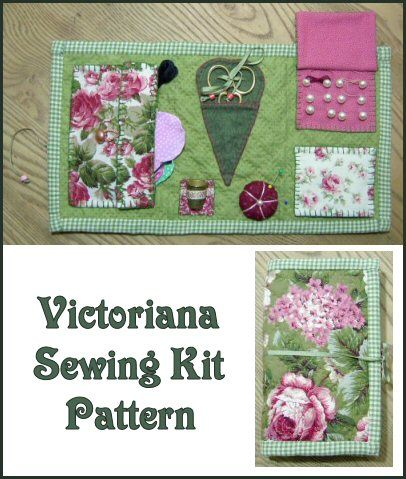 Victoriana Sewing Kit Pattern ~ I love taking my sewing 'wallet' with me when I'm away from home!  http://www.victorianaquiltdesigns.com/VictorianaQuilters/PatternPage/VictorianaSewingKit/VictorianaSewingKit.htm #quilting #embroidery