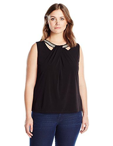 Nine West Womens Plus Size Crossover Nk Top W Embell Black 1X *** See this great product.Note:It is affiliate link to Amazon.