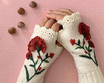 Poppy, Tricoté, Gants Noirs sans doigts, chauffe-bras, Mitaines sans doigts, Chauffe-poignets, Cadeau à elle, Cadeau de la Fête des Mères, Gants Crochet,