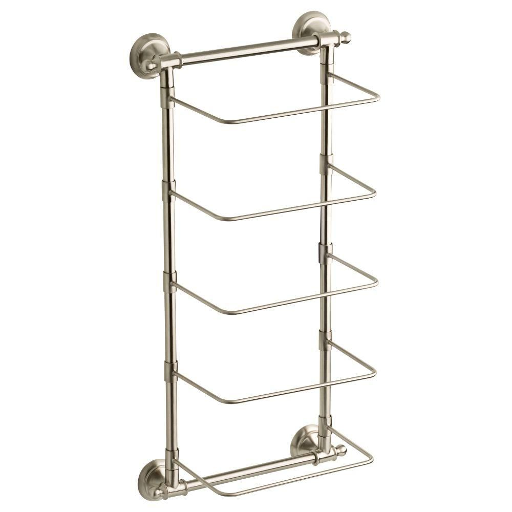Delta 5 Bar Wall Mounted Towel Rack In Spotshield Brushed Nickel Hextn01 Bn The Home Depot Towel Rack Wall Bar Bathroom Towel Storage