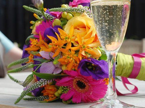 Purple Wedding Flowers Fall On Spring Summer Winter Green Orange