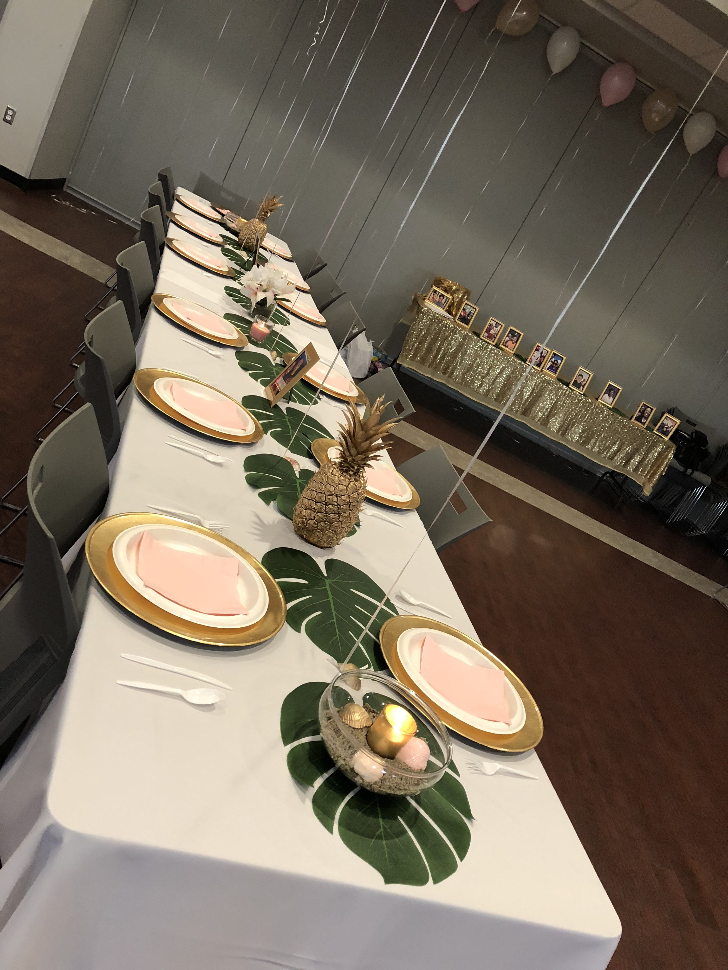 Tropical Theme Luau Table Setting