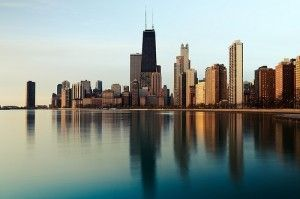 Chicago.  You don't often see the lake this calm...