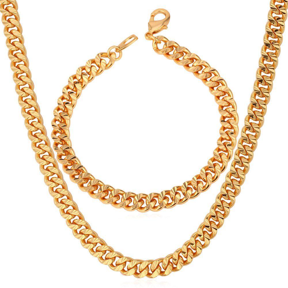 Mm chain set cuban curb link bracelet necklace k gold plated men