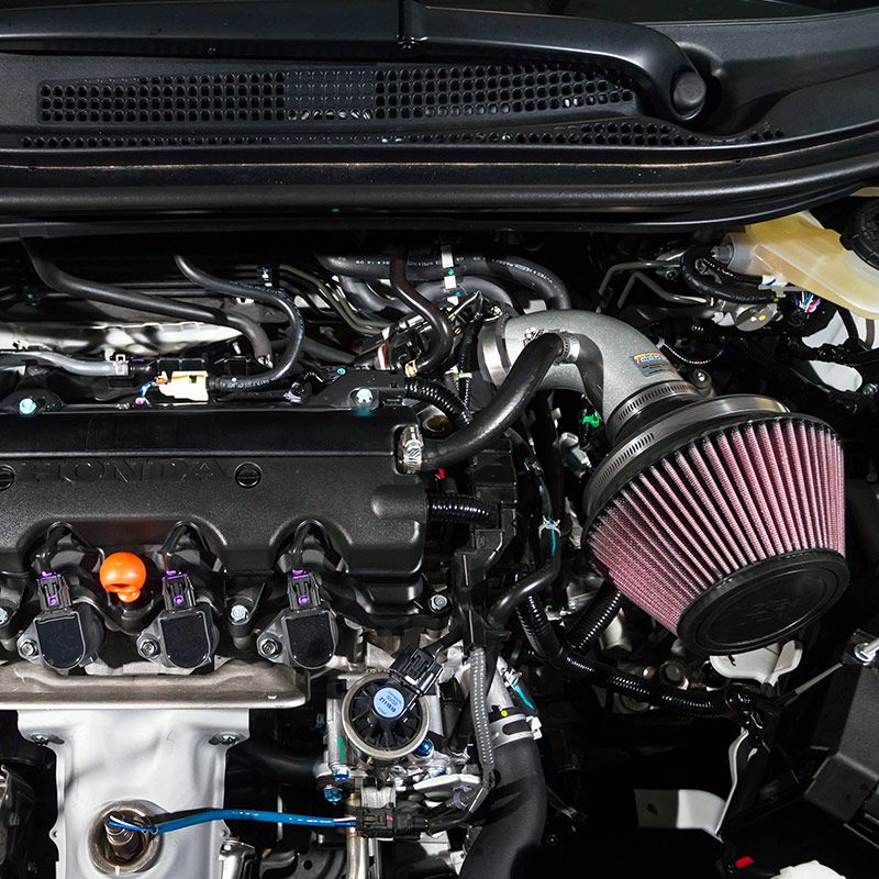 A custom K&N air intake system and highflow performance