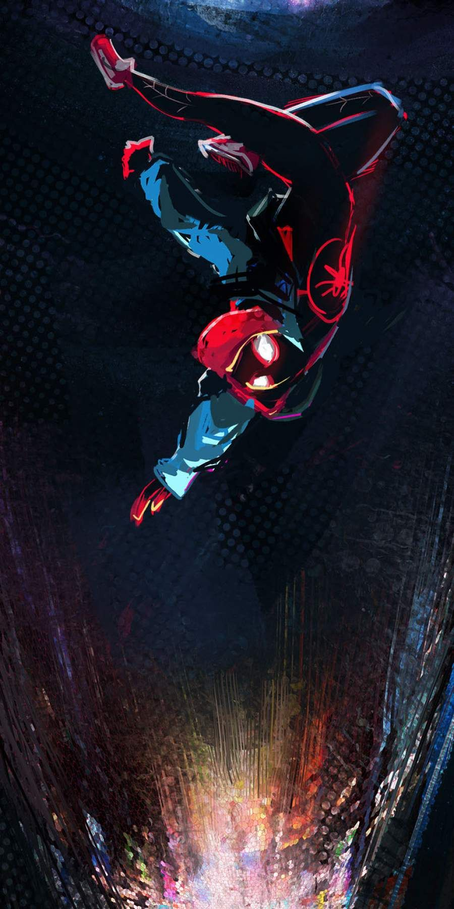 Spiderman Miles Morales Falling IPhone Wallpaper Marvel