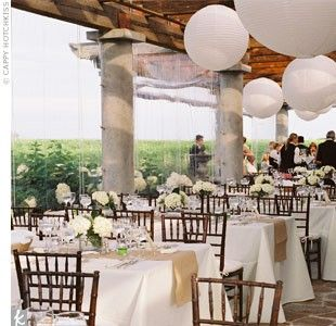Liz And Zacku0027s Reception Took Place On The Back Patio Of The Wolffer  Estate, Which Was Strewn With Large, White Paper Lanterns.