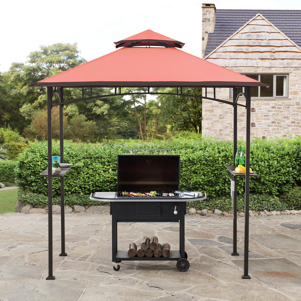 Sunjoy Jonas 5 Ft X 8 Ft Black Steel 2 Tier Grill Gazebo With Red Canopy 169162 The Home Depot In 2020 Grill Gazebo Gazebo Outdoor Structures