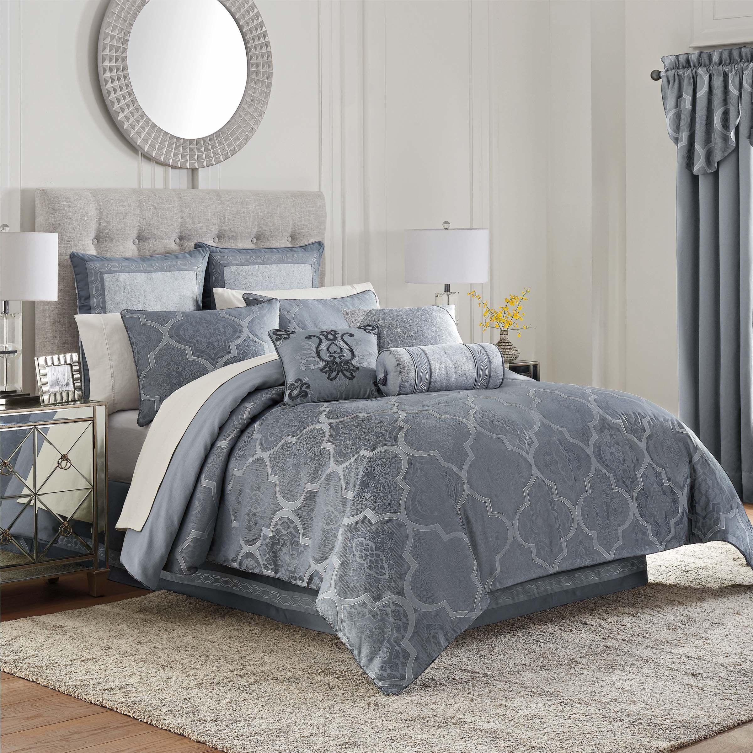 Trento Blue 4 Piece Reversible Comforter Set In 2020 Comforter Sets Luxury Comforter Sets Waterford Bedding