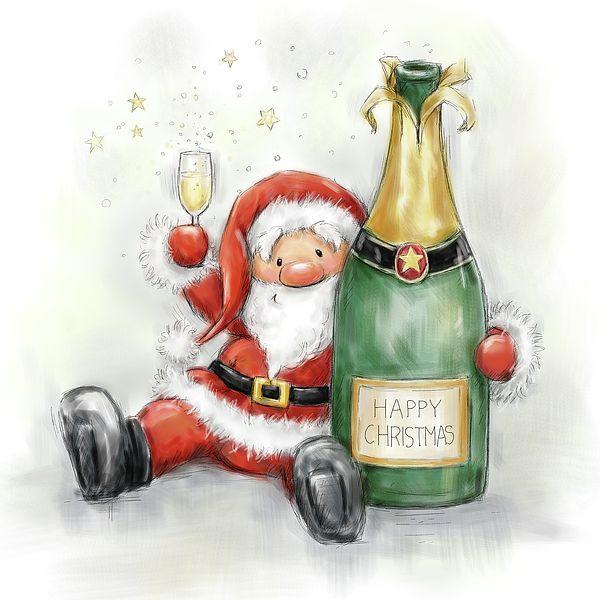 Santa Holding Bottle by Makiko