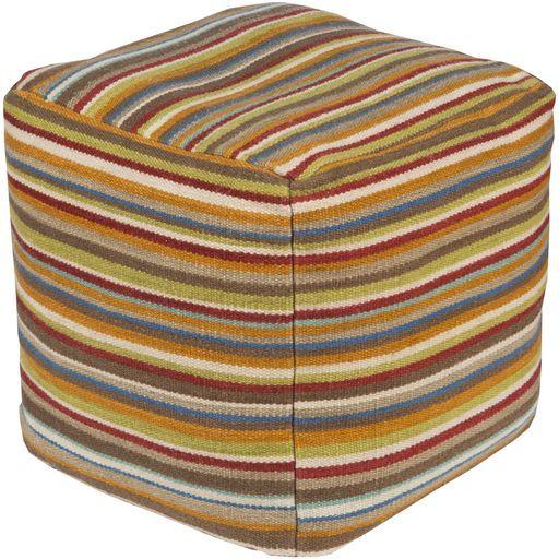 Surya Poufs Cube Pouf - Stripes - POUF-149