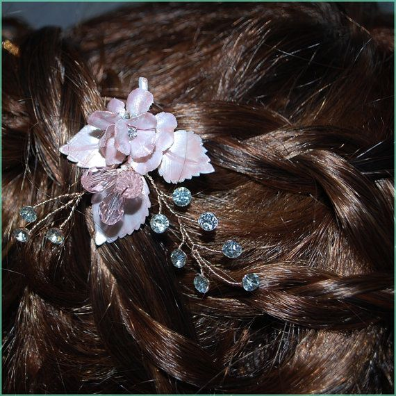 #Bohemian #Blush Rose Gold Floral Rhinestone & Crystal Spray Bobby Pin Bridal #Wedding#Hair Accessories #Bride Hair piece Hairpins $32