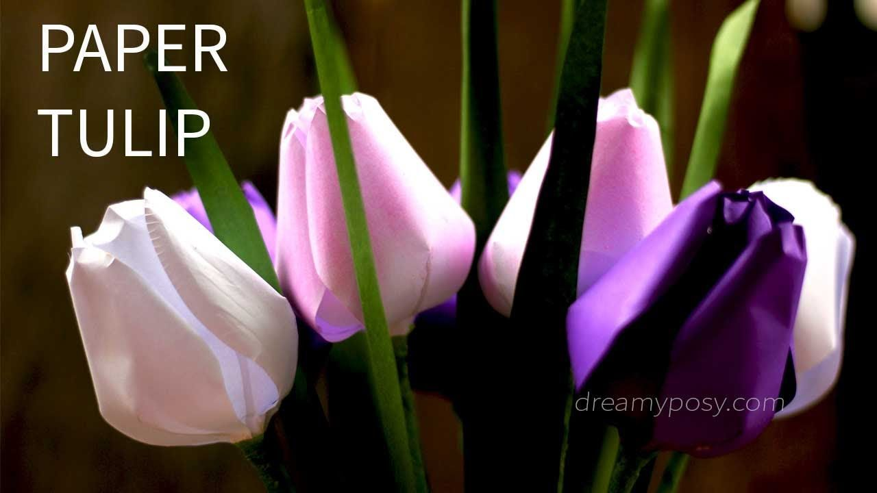 free template and tutorial how to make paper tulip flower from