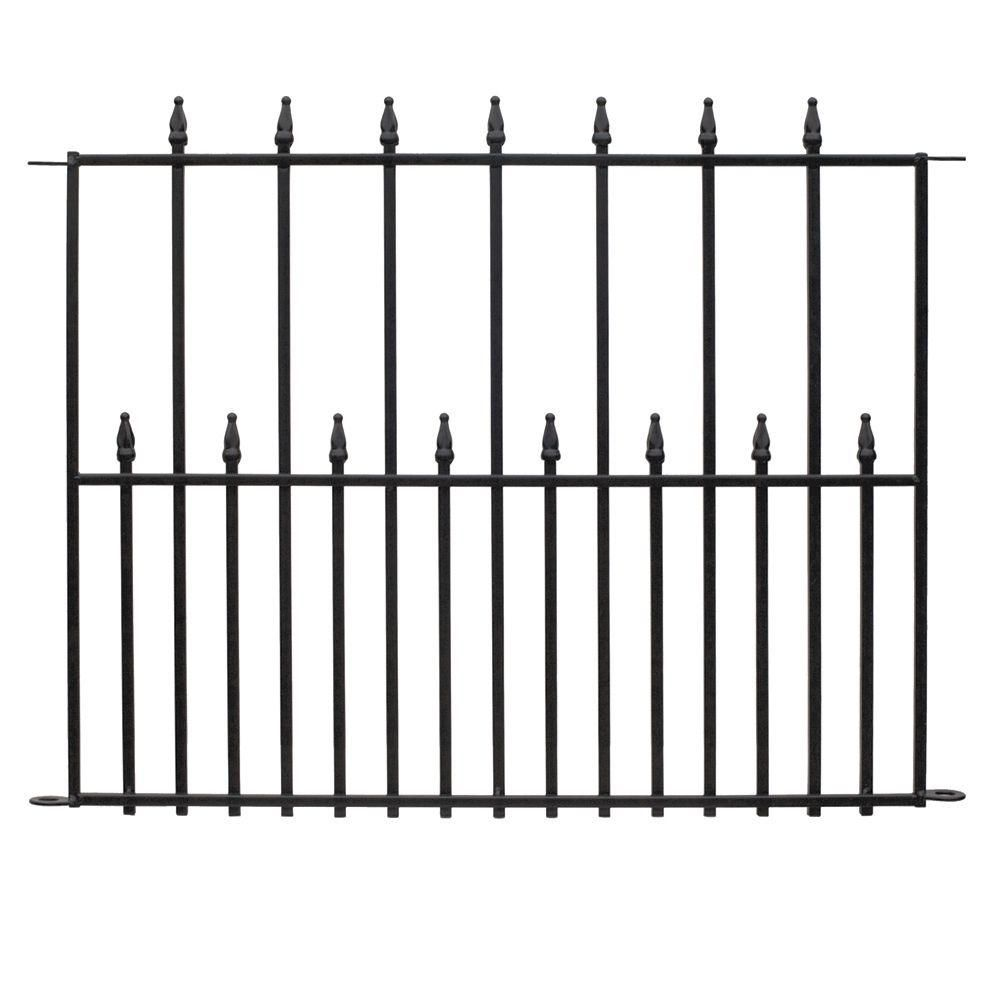 Hampton Bay Empire 30 In X 36 In Black Steel 3 Rail Fence Panel 860190 The Home Depot Metal Fence Panels Steel Fence Steel Fence Panels