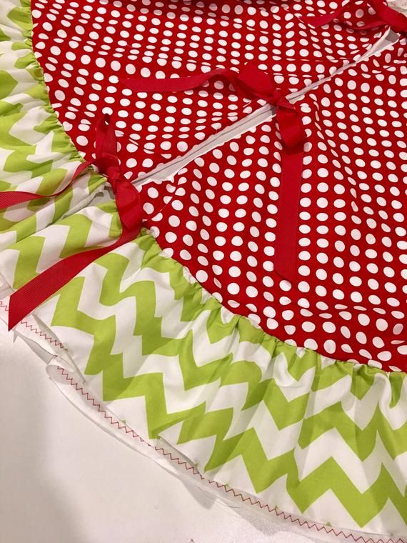"""60"""" red white polka dots and lime green chevron stripes whimsical Christmas tree skirt with ..."""