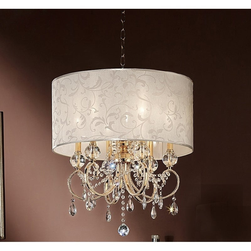 24 5 Inch Aurora Barocco Shade Crystal Gold Ceiling Lamp Chandelier Drum Chandelier Chandelier Ceiling Lights