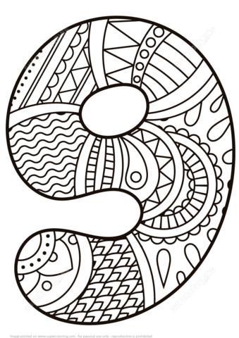 Número 9 Zentangle Dibujo para colorear. Categorías: Números ...