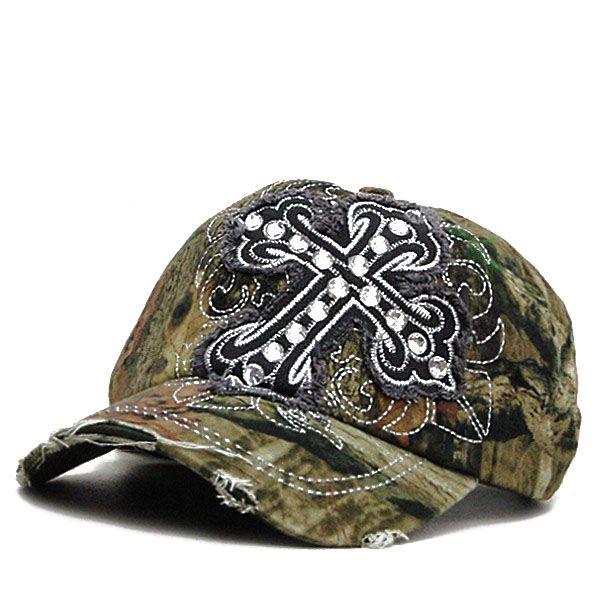 aa2cd1d33 Rhinestone Crystal Distressed Baseball Cap Hat Cadet Camo Gray | My ...