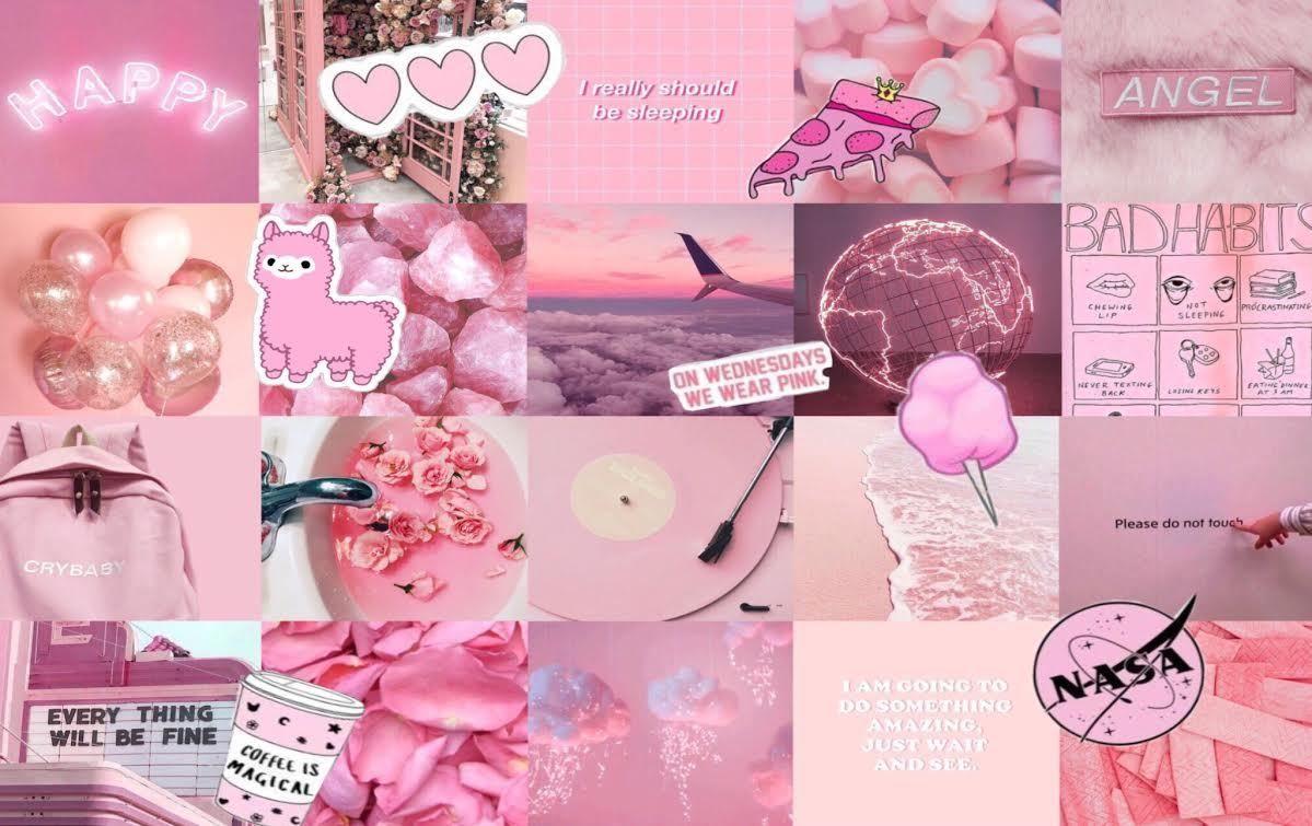 P I N K C O L L A G E A E S T H E T I C L A P T O P W A L L P A P E R Pink Wallpaper Laptop Aesthetic Desktop Wallpaper Cute Desktop Wallpaper