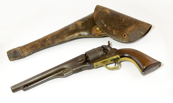 This Colt 1860, seen with its holster, belonged to Civil War General ...