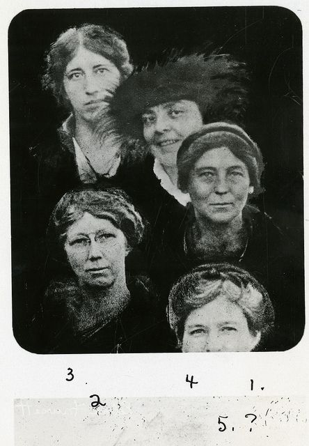 (clockwise from left): Agnes J. Quirk, Helen Morgenthau Fox (1884-1974), Florence Hedges (1878-1956), unidentified woman, and Edna H. Fawcett (b. 1879) by Smithsonian Institution, via Flickr
